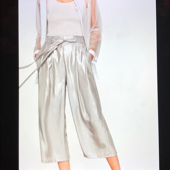 Zara Pants - NWT Zara Silver Flowing Wise Leg Cropped Trousers